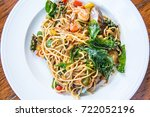 spaghetti with spicy mixed...   Shutterstock . vector #722052196
