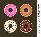 donut vector set isolated on a... | Shutterstock .eps vector #722052970
