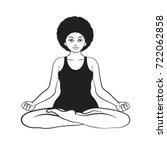 black outline yoga woman in... | Shutterstock .eps vector #722062858