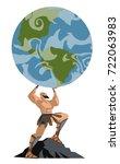atlas titan holding the globe | Shutterstock .eps vector #722063983