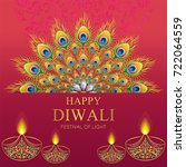 happy diwali festival card with ... | Shutterstock .eps vector #722064559