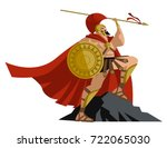 spartan warrior with spear and...