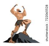 strong greek hero warrior | Shutterstock .eps vector #722065528