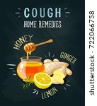 cough home remedies. a glass... | Shutterstock .eps vector #722066758
