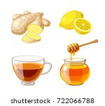 a glass pot full of honey ... | Shutterstock .eps vector #722066788