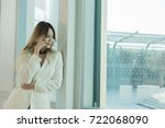 beautiful women use the phone... | Shutterstock . vector #722068090