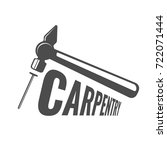 carpentry logo with hammer and... | Shutterstock .eps vector #722071444