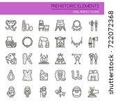 prehistoric elements   thin... | Shutterstock .eps vector #722072368