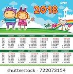 vector calendar 2018 year....   Shutterstock .eps vector #722073154