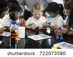 group of diverse kindergarten... | Shutterstock . vector #722073580