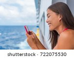 cruise ship woman using mobile... | Shutterstock . vector #722075530