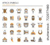 africa symbols   thin line and... | Shutterstock .eps vector #722077480