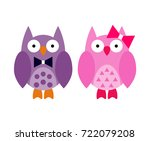 Cute Owl Couple Vector...