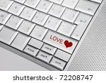 silver keyboard with heart icon ... | Shutterstock . vector #72208747