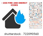 home fire disaster icon with... | Shutterstock .eps vector #722090560