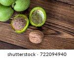 fresh harvest of walnuts on a... | Shutterstock . vector #722094940