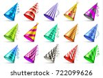 paper birthday party hats...   Shutterstock .eps vector #722099626