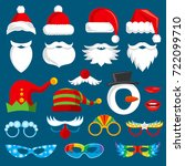 christmas holiday photo booth... | Shutterstock .eps vector #722099710