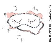 sleeping mask. moon. stars.... | Shutterstock .eps vector #722102773