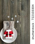 christmas table place setting | Shutterstock . vector #722103304