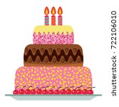 sweet birthday cake with three... | Shutterstock .eps vector #722106010