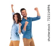 back to back happy couple... | Shutterstock . vector #722114896