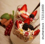 healthy food   granola with... | Shutterstock . vector #722116000