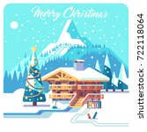 christmas card. holidays in...   Shutterstock .eps vector #722118064
