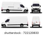 realistic cargo van. front view ... | Shutterstock .eps vector #722120833