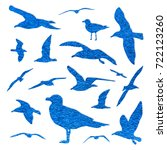 seagull silhouette set isolated ... | Shutterstock . vector #722123260
