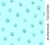 dog paw track. seamless animal... | Shutterstock .eps vector #722132560