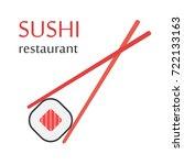 sushi restaurant. chopsticks... | Shutterstock .eps vector #722133163