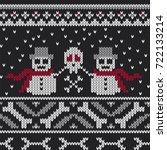 winter knitted sweater design...   Shutterstock .eps vector #722133214