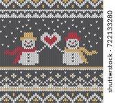winter knitted sweater design... | Shutterstock .eps vector #722133280