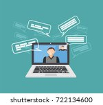 video call. video communication ... | Shutterstock .eps vector #722134600