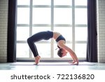 beautiful yoga woman practice... | Shutterstock . vector #722136820