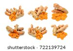 fresh turmeric slices isolated... | Shutterstock . vector #722139724