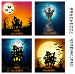 happy halloween banner set | Shutterstock . vector #722143966