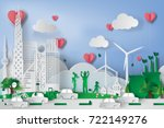 green city  with eco concept... | Shutterstock .eps vector #722149276