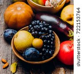 autumn vegetables fruits on... | Shutterstock . vector #722153764