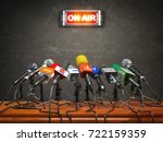 press conference or interview... | Shutterstock . vector #722159359