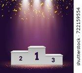 winner podium with confetti on... | Shutterstock .eps vector #722159554