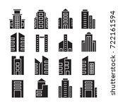 vector set of building icons | Shutterstock .eps vector #722161594