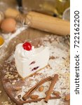 cheese cream cake topping with... | Shutterstock . vector #722162200