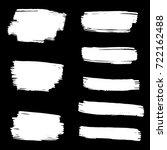 set of hand painted white brush ... | Shutterstock .eps vector #722162488