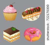 sweets and desserts  cartoon... | Shutterstock .eps vector #722170300