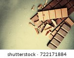 choped chocolate bars   | Shutterstock . vector #722171884