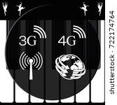 3g  4g symbols. mobile... | Shutterstock .eps vector #722174764