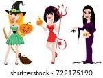 halloween. set of three girls... | Shutterstock .eps vector #722175190