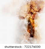 beautiful blonde belly dancer... | Shutterstock . vector #722176030